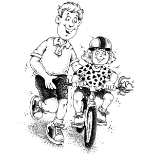father-teaching-daughter-to-ride-bicycle